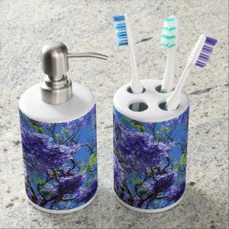 Jacaranda Tree Soap Dispenser And Toothbrush Holder