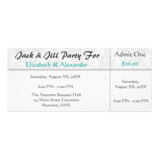 Jack and Jill Shower Ticket Style Party Custom Rack Card