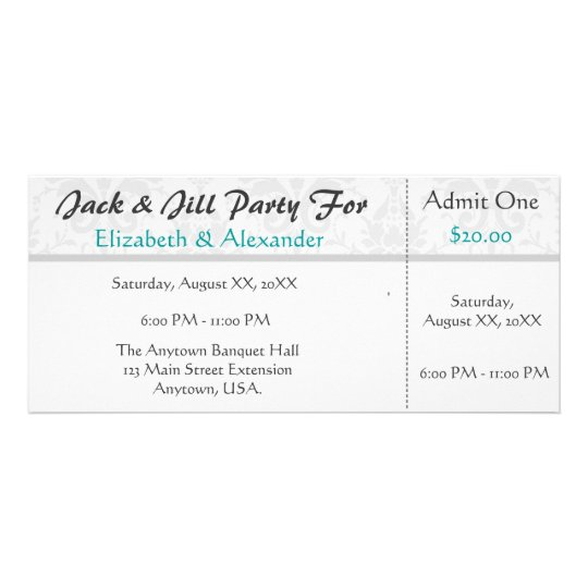 jack and jill tickets free templates - jack and jill shower ticket style party rack card