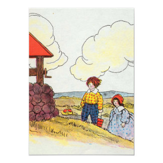 """Jack and Jill went up the hill 5"""" X 7"""" Invitation Card"""