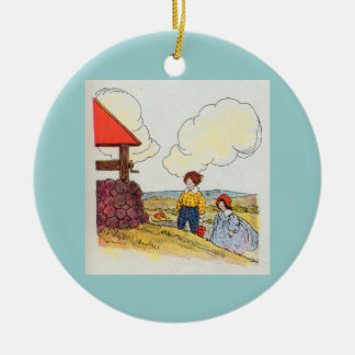 Jack and Jill went up the hill Round Ceramic Ornament