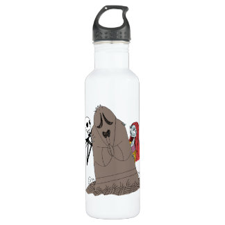 Jack and Sally Hiding Behind Tombstone 710 Ml Water Bottle