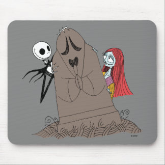 Jack and Sally Hiding Behind Tombstone Mouse Pad