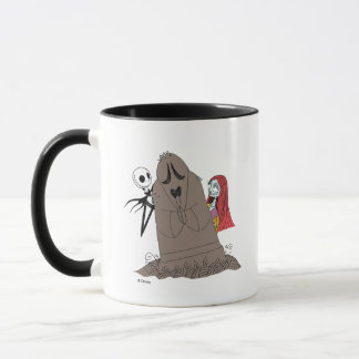 Jack and Sally Hiding Behind Tombstone Mug