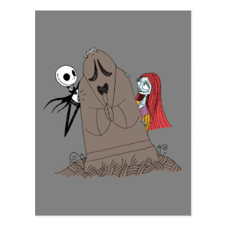 Jack and Sally Hiding Behind Tombstone Postcard