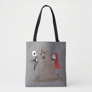 Jack and Sally Hiding Behind Tombstone Tote Bag