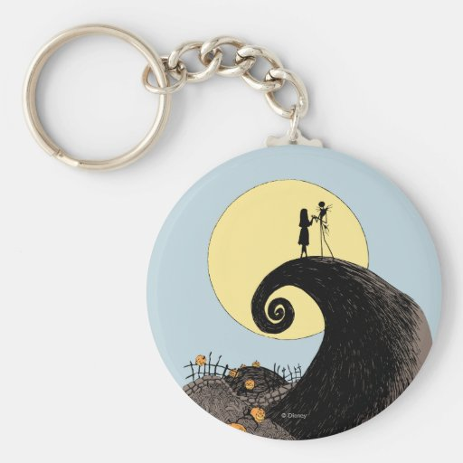 Jack and Sally Holding Hands Under the Moon Keychain
