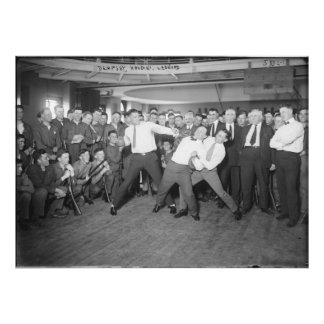 Jack Dempsey Mock Fighting Against Harry Houdini Photograph