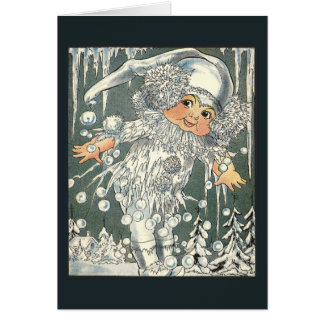 Jack Frost and Icy Windowpane Greeting Card