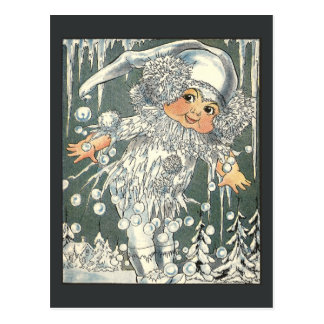 Jack Frost and Icy Windowpane Postcard