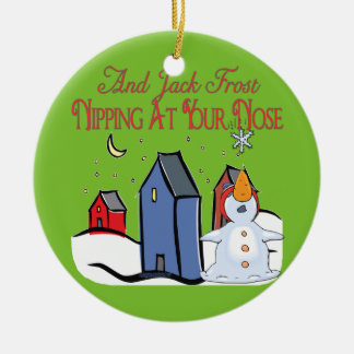 Jack Frost Round Ceramic Ornament