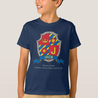 Jack J letter name meaning crest knights shield T-Shirt