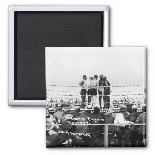Jack Johnson vs. Fireman Jim Flynn Boxing: 1912 Fridge Magnets