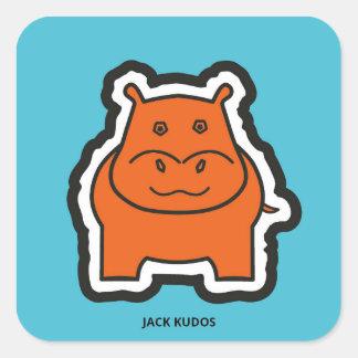 Jack Kudos Blue Square Sticker