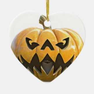 Jack O Lantern 1 Ceramic Heart Ornament