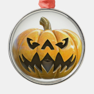 Jack O Lantern 1 Silver-Colored Round Ornament