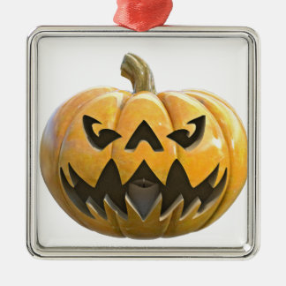 Jack O Lantern 1 Silver-Colored Square Ornament