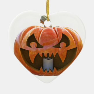 Jack O Lantern 2 Ceramic Heart Ornament