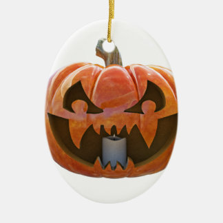 Jack O Lantern 2 Ceramic Oval Ornament