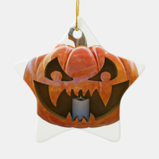 Jack O Lantern 2 Ceramic Star Ornament