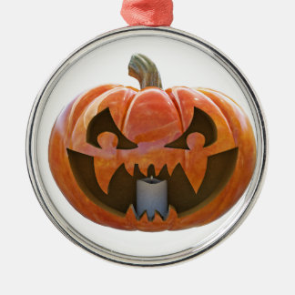 Jack O Lantern 2 Silver-Colored Round Ornament