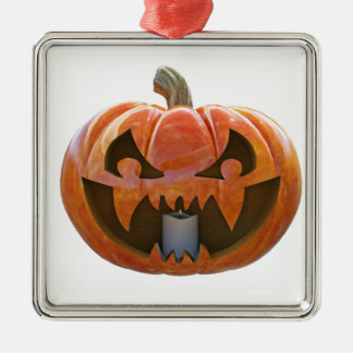 Jack O Lantern 2 Silver-Colored Square Ornament