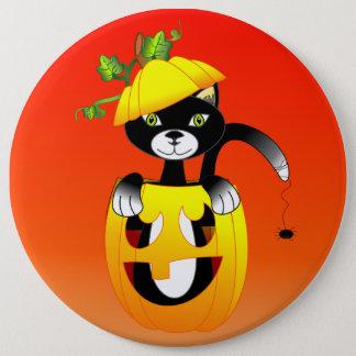 Jack O Lantern And Black Cat 6 Inch Round Button