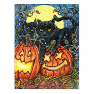 Jack-O'-Lantern and Black Cats Postcard