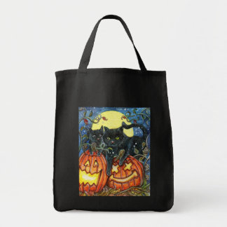 Jack-O'-Lantern and Black Cats Tote Bag