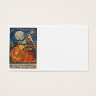 Jack O Lantern Black Cat Witch Full Moon Business Card