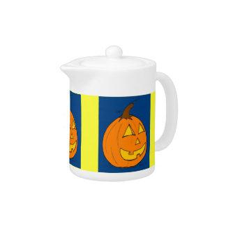 Jack o' Lantern Blue Teapot