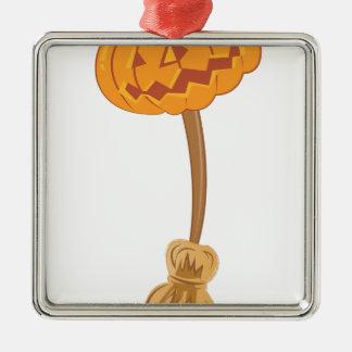 Jack-O-Lantern Broom Silver-Colored Square Ornament
