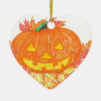 Jack-O-Lantern Ceramic Heart Ornament