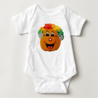 Jack o' Lantern Clown Face, Halloween Pumpkin Baby Bodysuit
