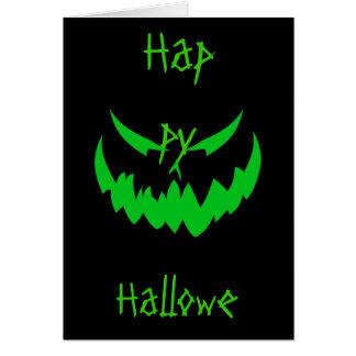 Jack-O'-Lantern Face II, Green Greeting Card