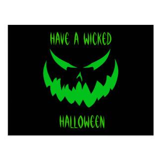 Jack-O'-Lantern Face II, Green Postcard