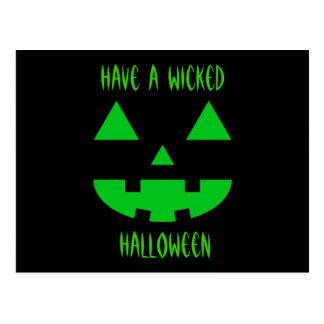 Jack-O'-Lantern Face IV, Green Postcard