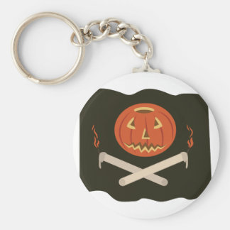 Jack-O-Lantern Flag Basic Round Button Keychain
