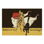 Jack O' Lantern Ghost Black Cat Cornstalk Poster