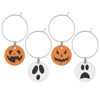 Jack 'o Lantern & Ghost Face Wine Glass Charms