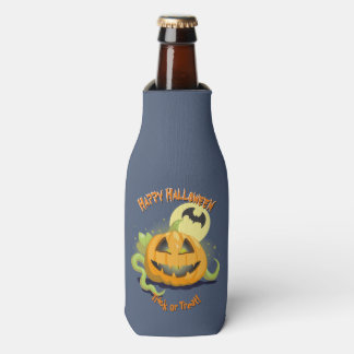 Jack O' Lantern Halloween Pumpkin Bottle Cooler