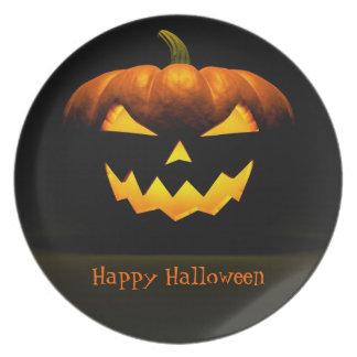 Jack O Lantern Halloween Pumpkin On Black Party Plate
