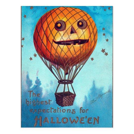 Jack O Lantern Hot Air Balloon Postcard