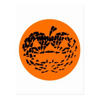 Jack-O-Lantern Icon Black on Orange Postcard