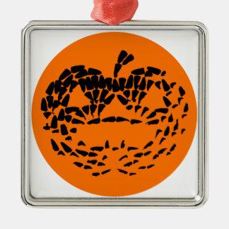 Jack-O-Lantern Icon Black on Orange Silver-Colored Square Ornament