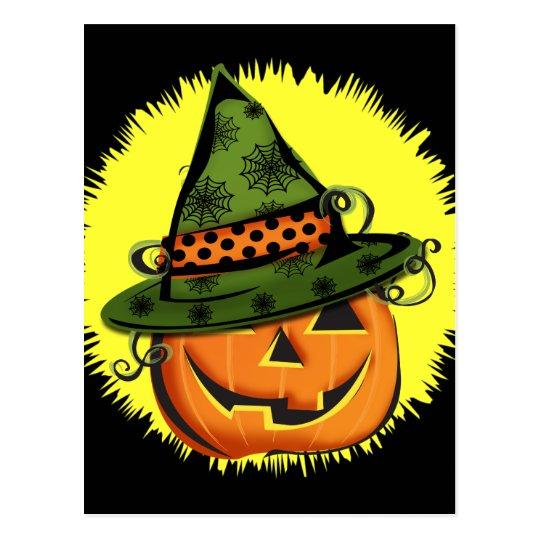 Jack-O-Lantern in Witch Hat Postcard