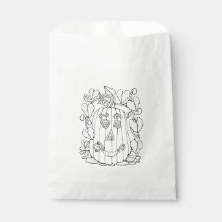 Jack O Lantern Line Art Design Favour Bag