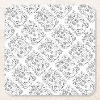 Jack O Lantern Line Art Design Square Paper Coaster