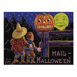 Jack O Lantern Man In The Moon Postcard