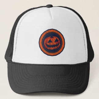 Jack O Lantern Octagon Orange Worn Look Trucker Hat